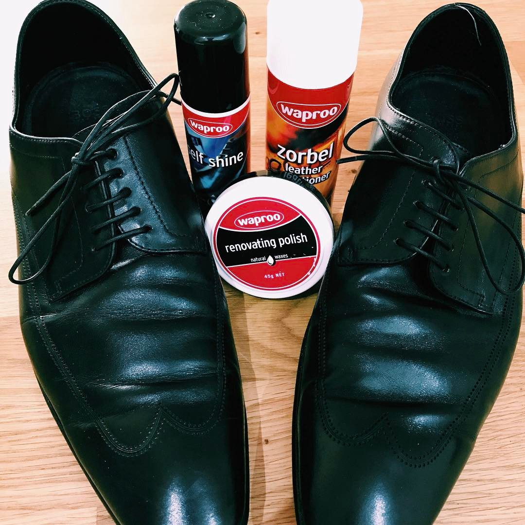 The ultimate kit to keep your lace up dress shoes looking sharp and classy #waproo #dressshoes #shoecare #leathercare #leatherconditioner #renovatingpolish #shoepolish #shoeconditioning #madeinmelbourne