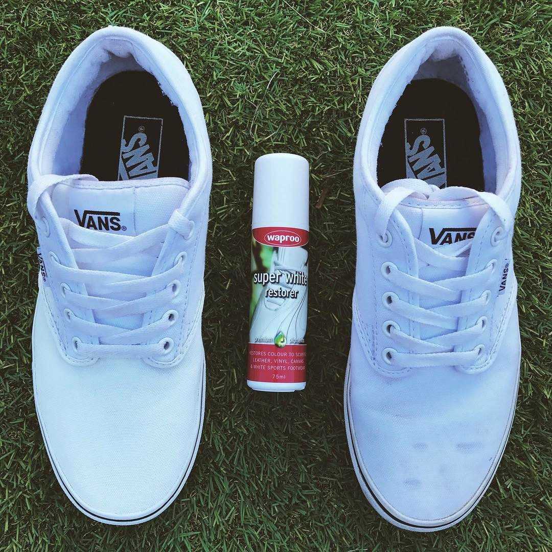 Spot the difference #waproo #vans #shoecare #superwhiterestorer #whiteshoes #madeinmelbourne